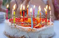 15 ans cartes Joyeux anniversaire