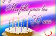 Carte virtuelle Joyeux anniversaire ma fille 36 ans