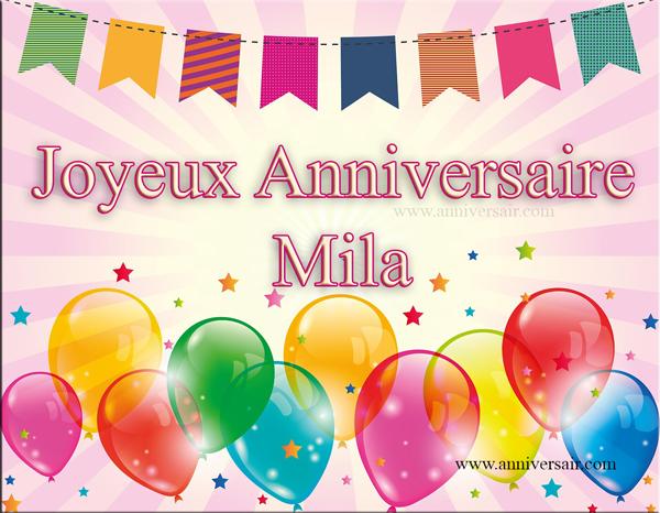 Carte virtuelle Joyeux anniversaire Mila