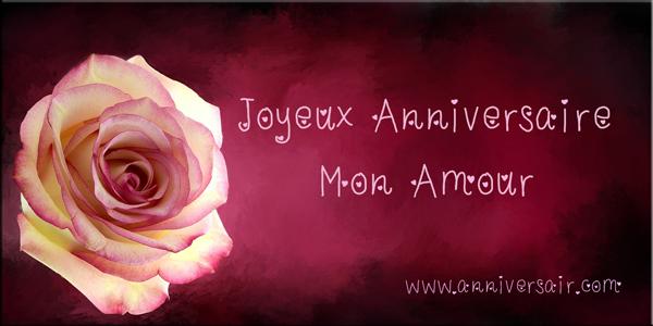 Joyeux anniversaire mon Amour avec une rose