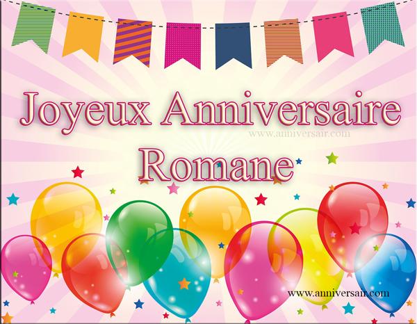 Carte virtuelle Joyeux anniversaire Romane