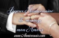 Joyeux anniversaire de mariage à mon mari